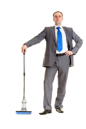 Businessman in a gray suit with a blue mop Stock Photo - 8694452