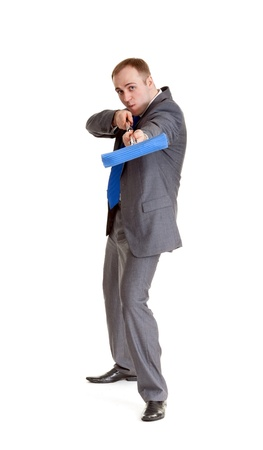 Businessman in a gray suit with a blue mop photo