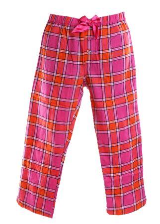 格子縞パジャマのズボン、白い背景に
