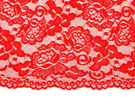 Red lace with pattern with form flower on white background photo