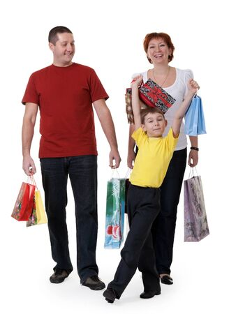 family for shopping isolated on white background Stock Photo - 8905618