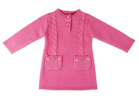 children's wear: Red knit dress with a pattern on a white background