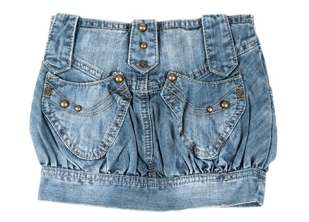 denim mini skirt isolated on white background photo