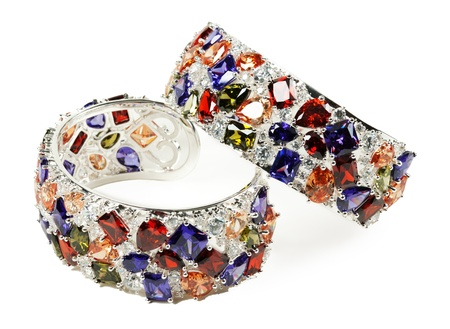 bracelet: silver bracelet with stones on a white background