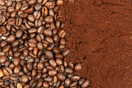 background of coffee, half of grains, half of the ground photo