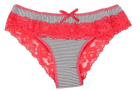 red lace panties for women isolated on white background photo