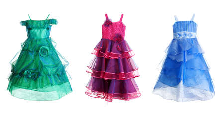 collage of three festive dress isolated on a white background. The image was compiled from images photo