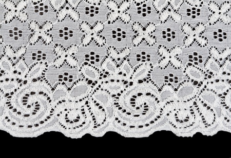 white lace with a floral pattern on a black background photo