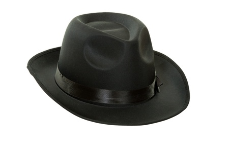 fedora: Mens black felt hat isolated on white background Stock Photo
