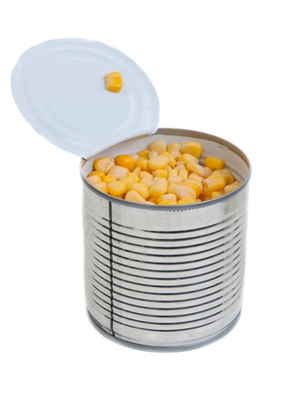 Open a bank with corn on white background Stock Photo - 9212020
