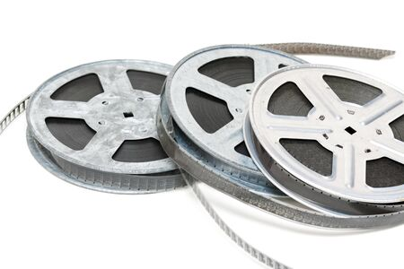 celluloid film: Aluminium reel of film isolated on white background