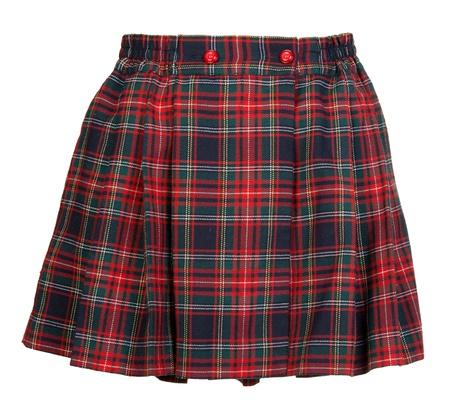 Plaid red feminine skirt on white background photo