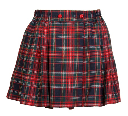 skirt: Plaid red feminine skirt on white background