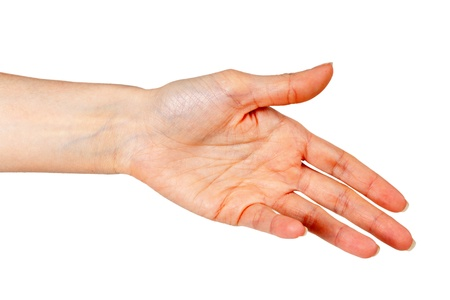 womans hand, palm outstretched on a white background photo