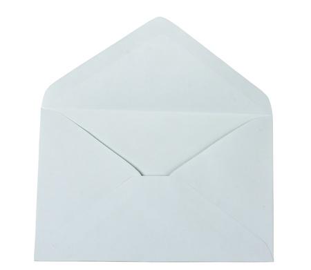 sobres para carta: abrir sobre vac�o aislado en un fondo blanco Foto de archivo