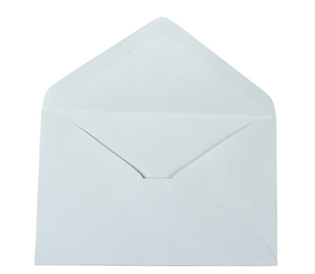open empty envelope isolated on a white background photo