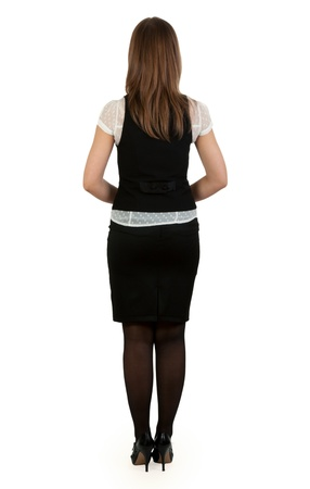 woman in suit: beautiful business lady is back on a white background