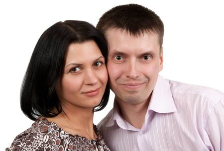 portrait of a pair of male and female isolated on a white background Stock Photo - 9489379