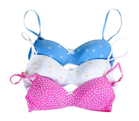 lace bra: three colored bra isolated on a white background