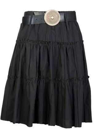 black fabric ladies skirt isolated on white background Stock Photo