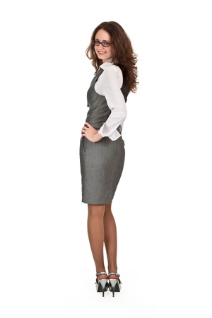 suit skirt: Businesswoman looks back on a white background Stock Photo