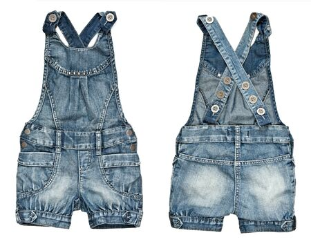 collage childrens denim shorts with suspenders on a white background. image is composed of several photographs. photo