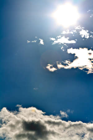 sun and the beautiful clouds in the blue sky photo