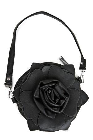 borsetta in pelle a forma di rose isolato su sfondo bianco