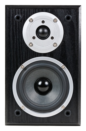 black speaker isolated on a white background photo