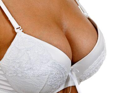 beautiful breast girls in bra on a white background