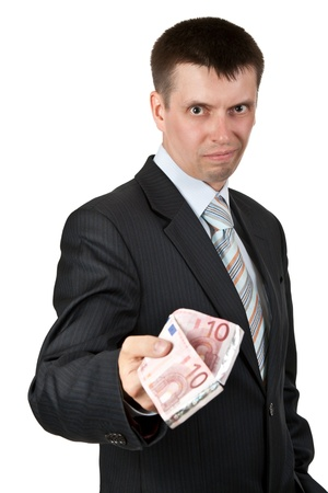biased: businessman casually gives the euro on a white background Stock Photo