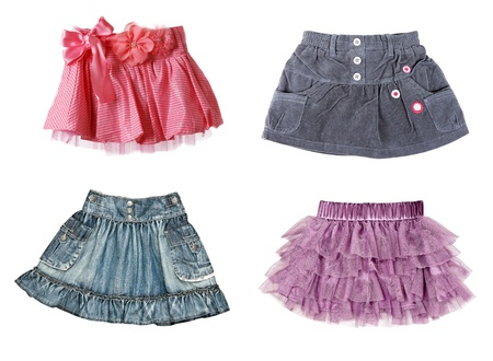 collage of four skirts. The image was compiled from photos photo