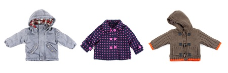compiled: collage of warm childrens clothing with a hood. The image was compiled from photos Stock Photo