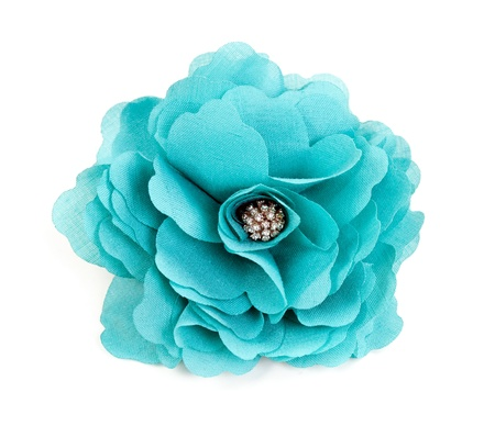 turquesa: flor de tela color turquesa aislada sobre fondo blanco Foto de archivo