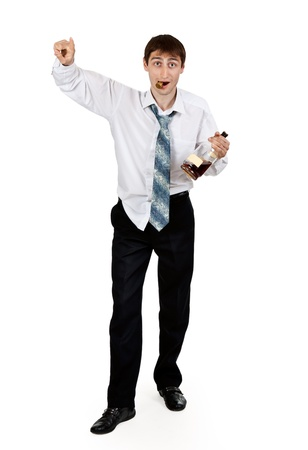 tipsy: drunk businessman with a bottle of cognac on a white background
