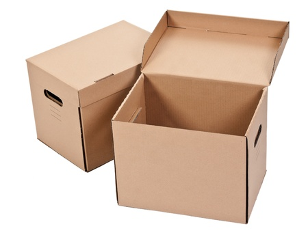 two cardboard box isolated on white background photo