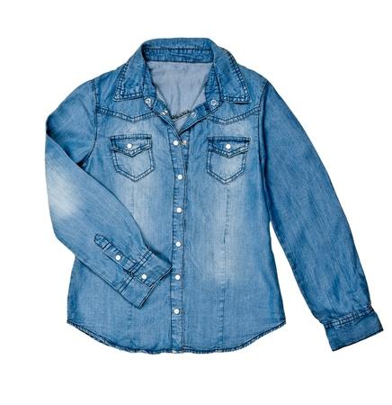 blue jean shirt isolated on white background photo