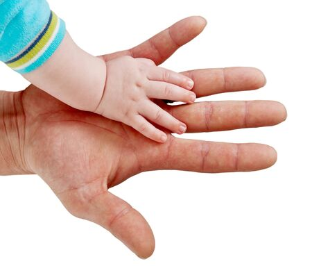 hand man and baby isolated on white background photo