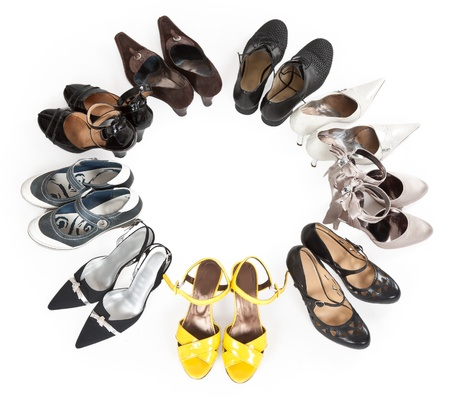 stylish women's shoes are round the Stock