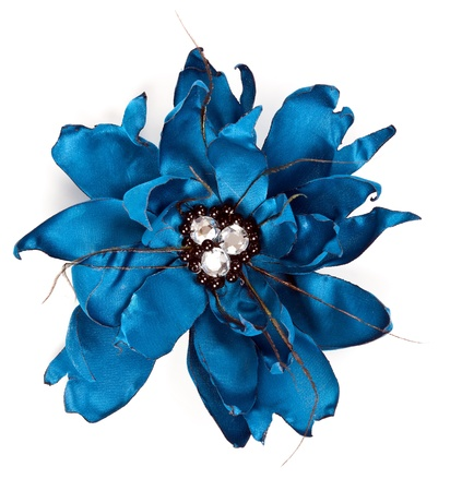 blue fabric flower with crystals isolated on a white background Stock Photo - 10320040