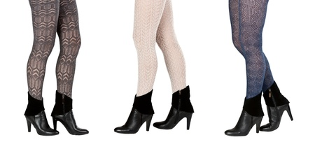 A collage made up of three pairs of female legs in pantyhose and boots isolated on a white background. The image is composed of several photographs. photo