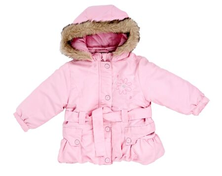 pink winter jacket with fur baby on the hood isolated on a white background photo
