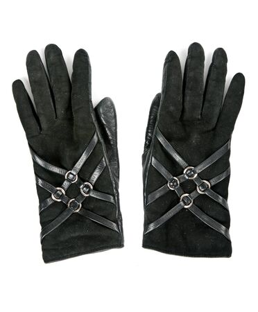 a pair of leather gloves female isolated on a white background photo