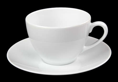 white cup and saucer isolated on black background Stock Photo - 10649288