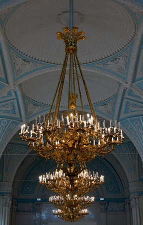 gold chandeliers in the Hermitage in St. Petersburg photo