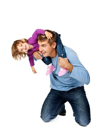 Happy father holding daughter on his shoulders isolated on white background
