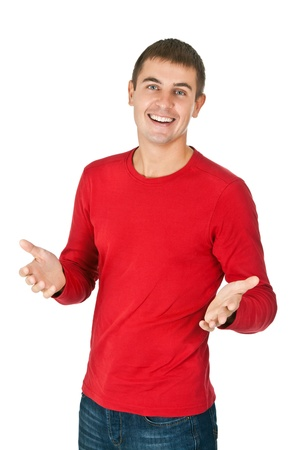 red jeans: Portrait of a handsome man in a red dress on white background