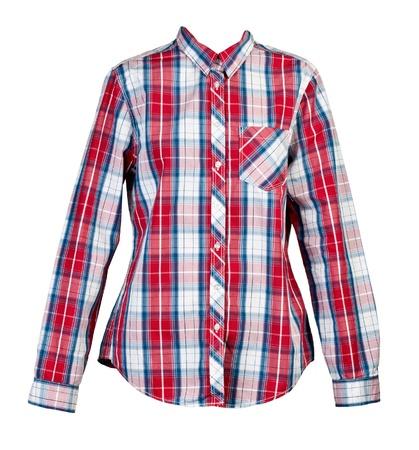 tela algodon: las mujeres camisa de cuadros rojos sobre fondo blanco