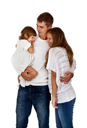 happy family in the studio on a white background