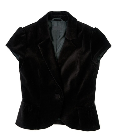 a black velvet waistcoat isolated on white background photo